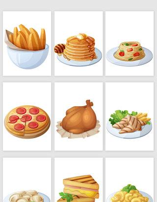 美味美食食物卡通风格矢量元素