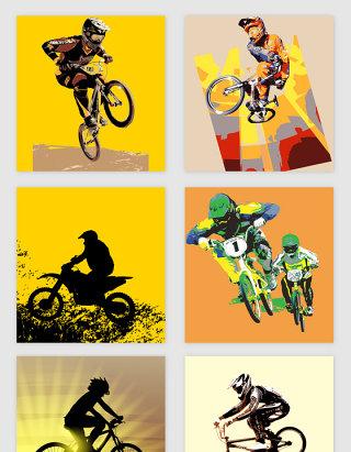 手绘摩托单车赛车矢量素材
