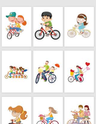 卡通骑自行车的小孩