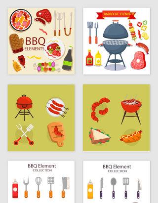 卡通户外烧烤bbq设计素材