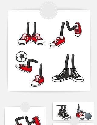 卡通足球运动鞋元素