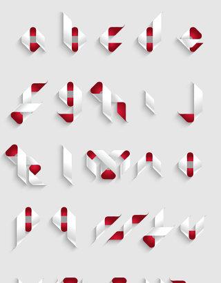 矢量抽象丝带英文字母