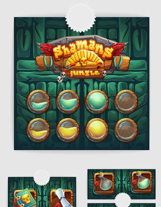 网络游戏UI图标界面设计手绘素材