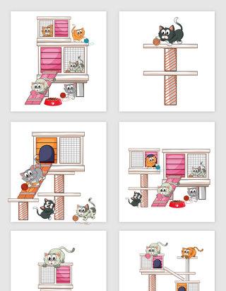 猫舍矢量图插图可爱
