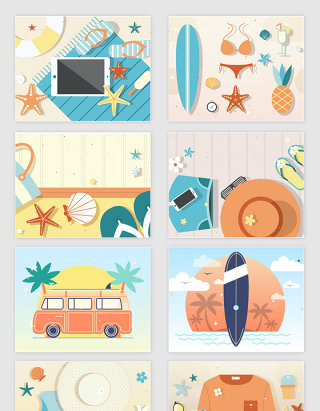 矢量卡通夏日旅行海边沙滩插画