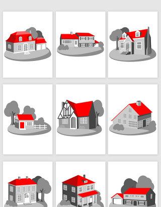 卡通房子别墅矢量素材