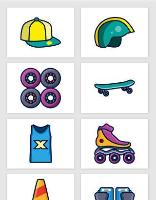 卡通溜冰滑冰鞋滑板护膝运动衫矢量图形