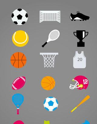 彩色体育用品图标矢量素材
