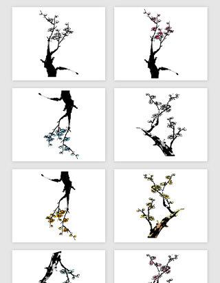 黑色手绘梅花花朵矢量素材