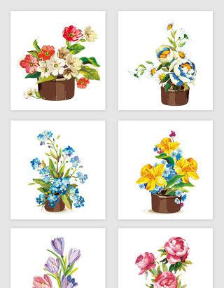 鲜艳手绘花卉矢量素材