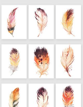 手绘彩色羽毛矢量素材