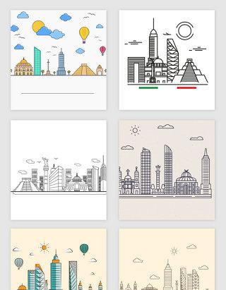 彩色抽象城市线描的矢量素材