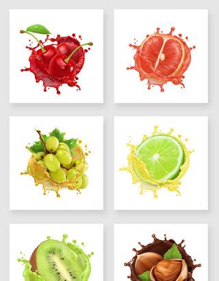 水果榛果果汁溅起素材