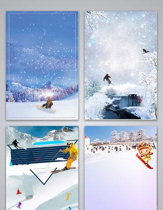 唯美简约滑雪海报背景图