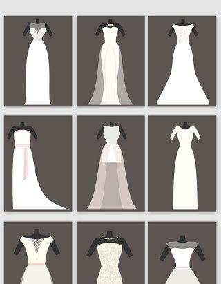 夏季婚纱矢量素材