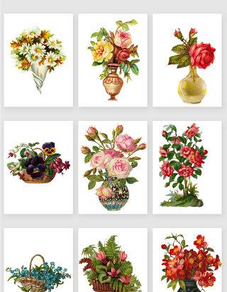 手绘复古花篮花卉矢量素材