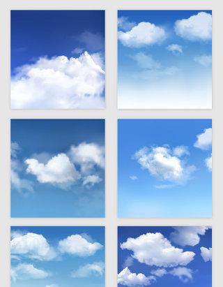 蓝天白云的矢量素材