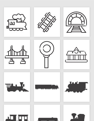 火车车厢铁轨蒸汽机素描线条剪影插画矢量图