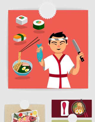 日本厨师和料理矢量素材