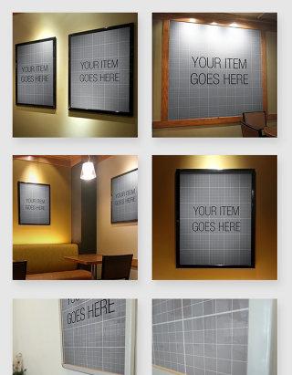 室内壁画画框展示贴图样机素材