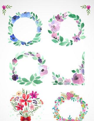 欧式花环花圈花纹花朵矢量设计