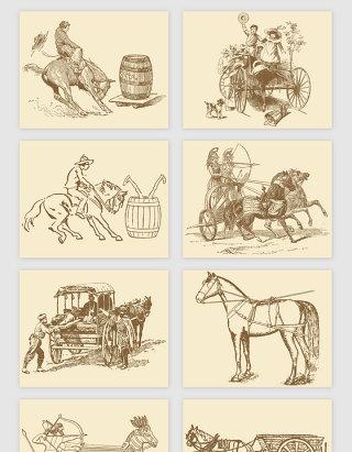 手绘原始动物交通工具矢量素材