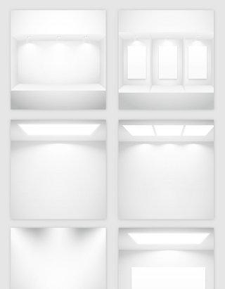 白色空房子灯光模型的矢量素材