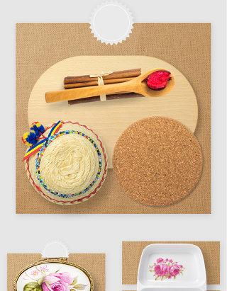 厨房餐具砧板餐垫PSD素材