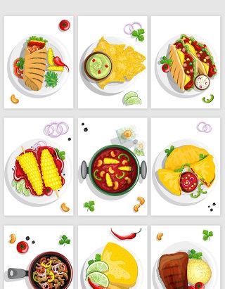 餐饮行业卡通手绘风格美食矢量素材