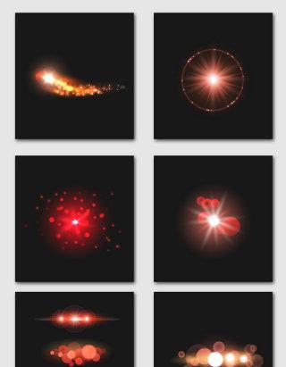红色矢量光效设计素材