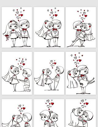 手绘风格婚礼卡通人矢量元素