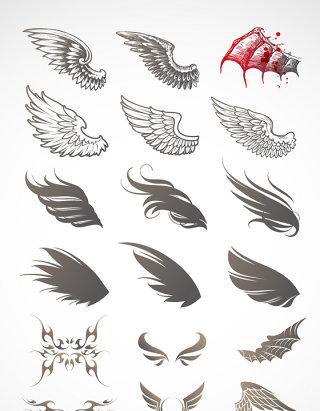 酷黑色华丽翅膀矢量素材