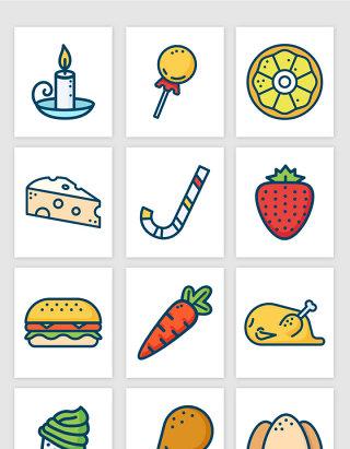 手绘彩色食物图标矢量图形