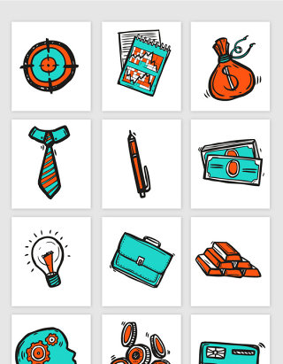 彩色卡通线描商务金融矢量素材