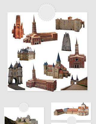 高清免抠欧式中世纪城堡素材
