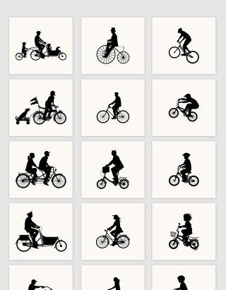 矢量复古骑自行车人物剪影