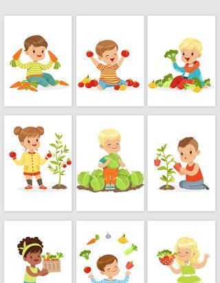 手绘卡通人物和水果植物素材