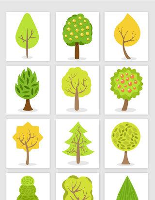卡通手绘绿色树木素材