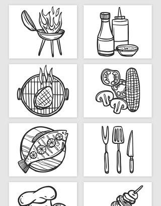 手绘线描烧烤类的矢量素材