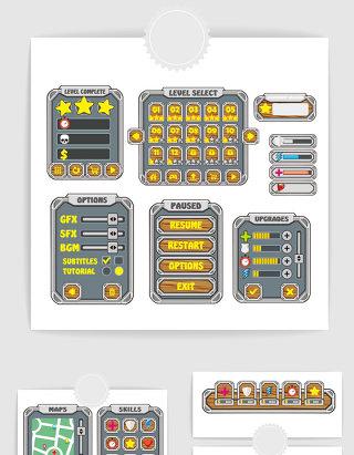 手绘网络游戏手游界面UI设计素材