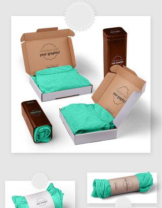 服装品牌形象LOGO包装贴图样机素材