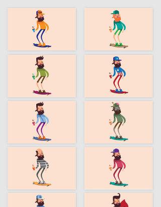 矢量卡通滑滑板人物插画