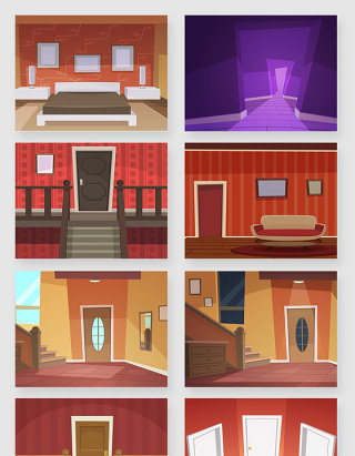 室内家居空间场景插画矢量素材