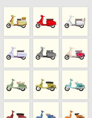 矢量卡通摩托车助动车