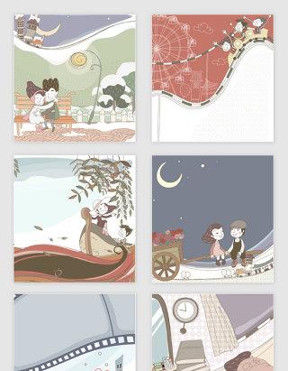 矢量浪漫可爱卡通女孩恋爱插画
