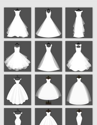 白色夏季婚纱矢量元素