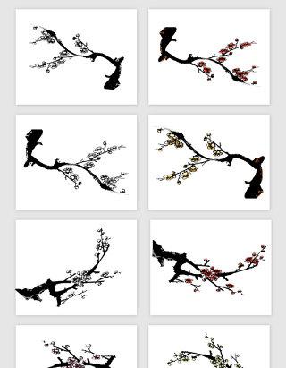 手绘梅花花朵矢量素材