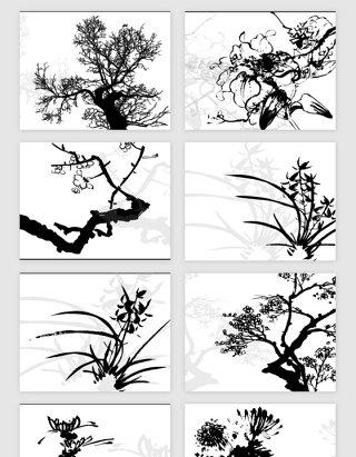 中国风水墨风景植物花朵矢量素材
