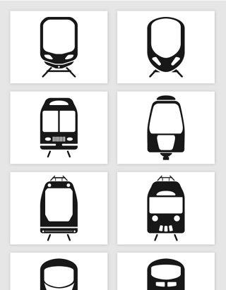 火车车头高铁车头地铁车头剪影插画矢量图形