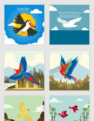 简约卡通飞鸟设计素材